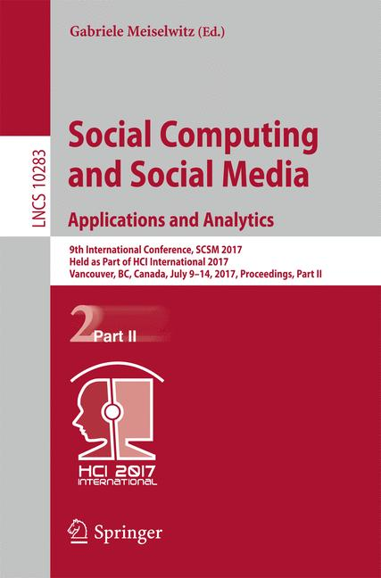 Cover of 'Social Computing and Social Media. Applications and Analytics'