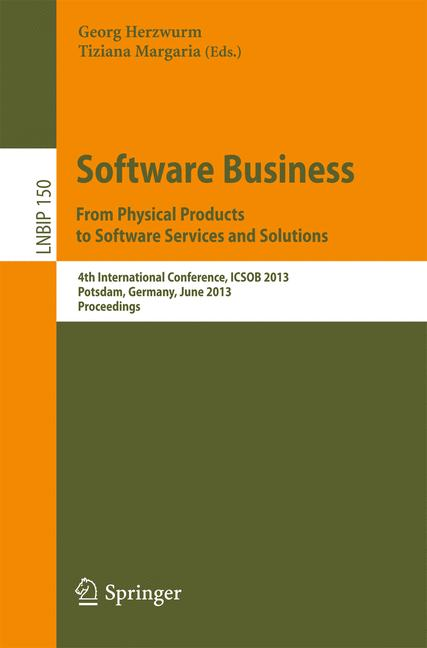 Cover of 'Software Business. From Physical Products to Software Services and Solutions'