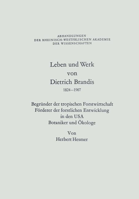 Cover of 'Leben und Werk von Dietrich Brandis 1824–1907'