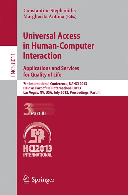 Cover of 'Universal Access in Human-Computer Interaction. Applications and Services for Quality of Life'