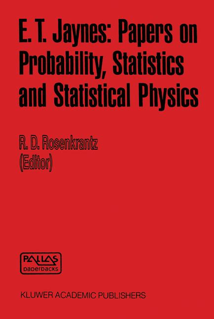 Cover of 'E. T. Jaynes: Papers on Probability, Statistics and Statistical Physics'