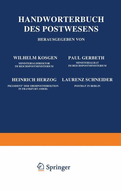 Cover of 'Handwörterbuch des Postwesens'