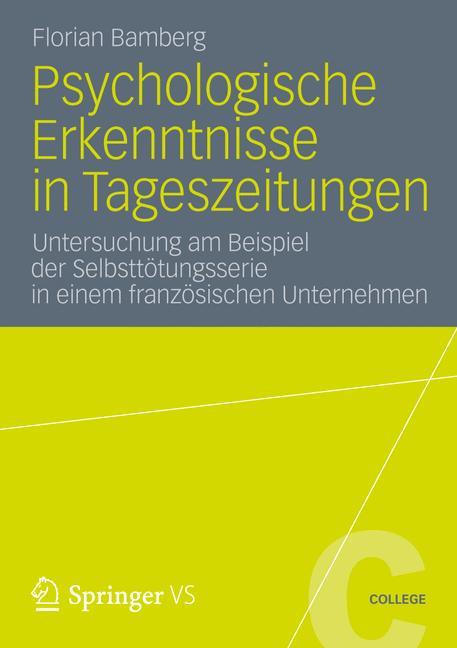 Cover of 'Psychologische Erkenntnisse in Tageszeitungen'
