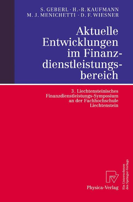 Cover of 'Aktuelle Entwicklungen im Finanzdienstleistungsbereich'