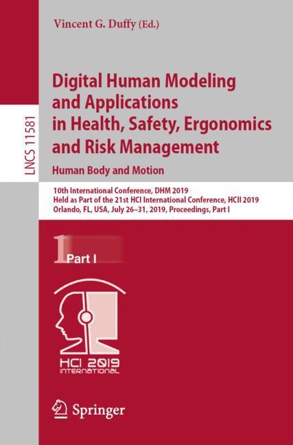 Cover of 'Digital Human Modeling and Applications in Health, Safety, Ergonomics and Risk Management. Human Body and Motion'