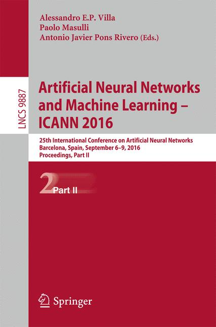 Cover of 'Artificial Neural Networks and Machine Learning – ICANN 2016'
