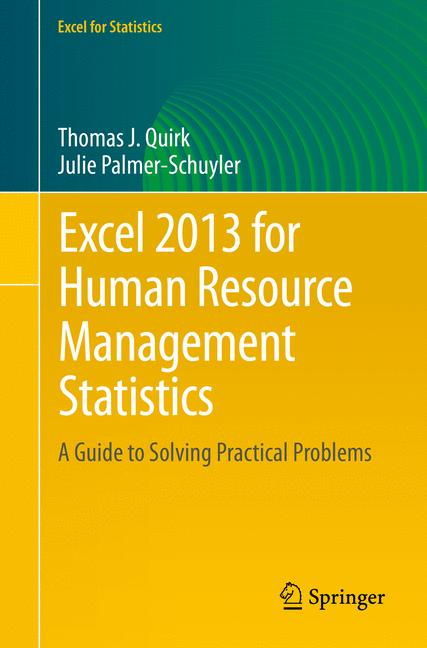 Cover of 'Excel 2013 for Human Resource Management Statistics'