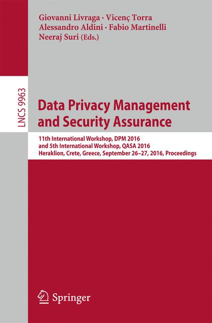 Cover of 'Data Privacy Management and Security Assurance'