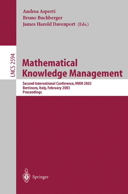 Cover of 'Mathematical Knowledge Management'