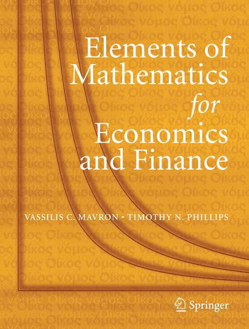 Cover of 'Elements of Mathematics for Economics and Finance'