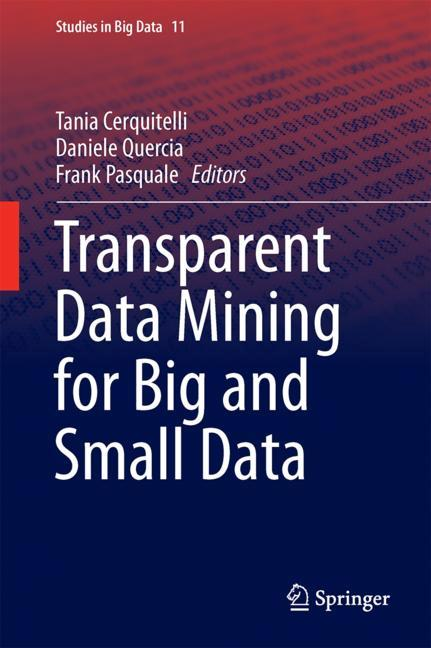 Cover of 'Transparent Data Mining for Big and Small Data'