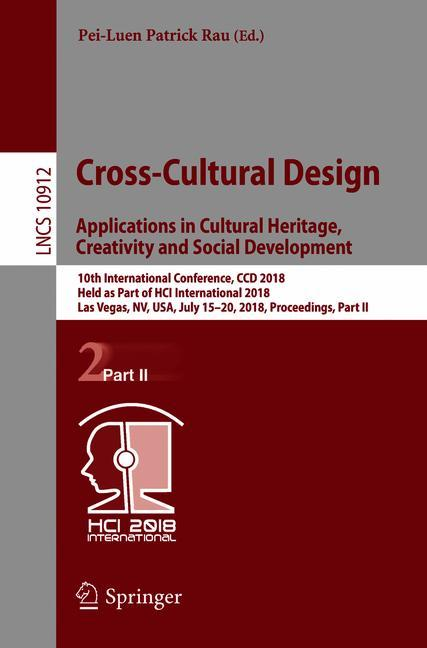 Cover of 'Cross-Cultural Design. Applications in Cultural Heritage, Creativity and Social Development'