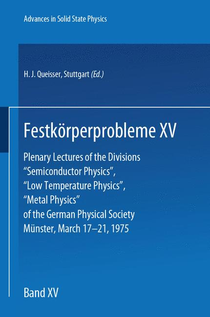 Cover of 'Festkörperprobleme 15'