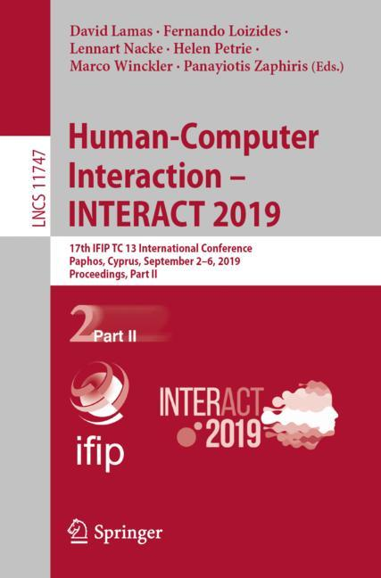 Cover of 'Human-Computer Interaction – INTERACT 2019'