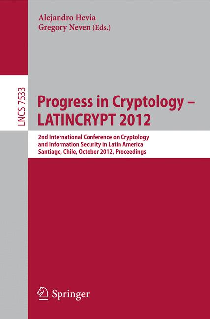 Cover of 'Progress in Cryptology – LATINCRYPT 2012'