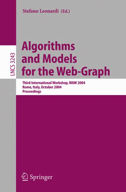 Cover of 'Algorithms and Models for the Web-Graph'