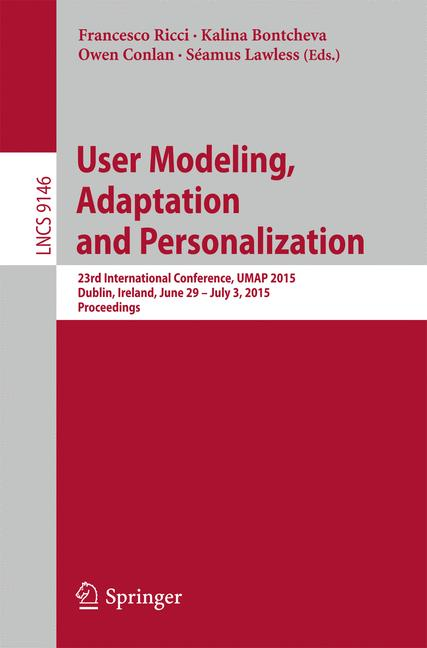 Cover of 'User Modeling, Adaptation and Personalization'
