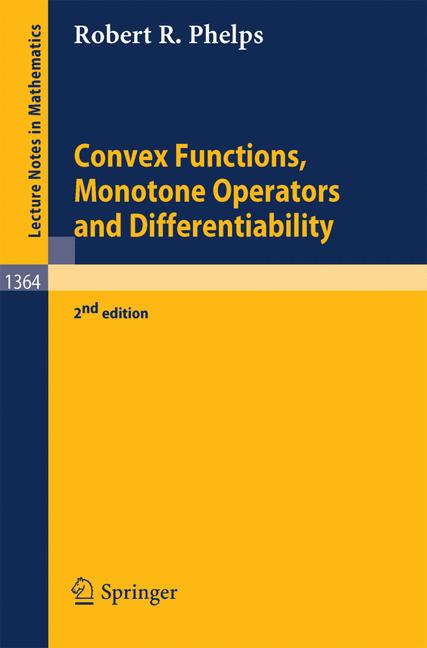 Cover of 'Convex functions, monotone operators and differentiability'