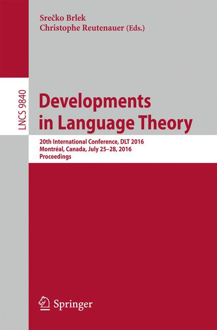 Cover of 'Developments in Language Theory'