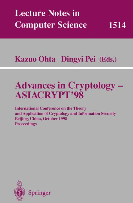 Cover of 'Advances in Cryptology — ASIACRYPT'98'