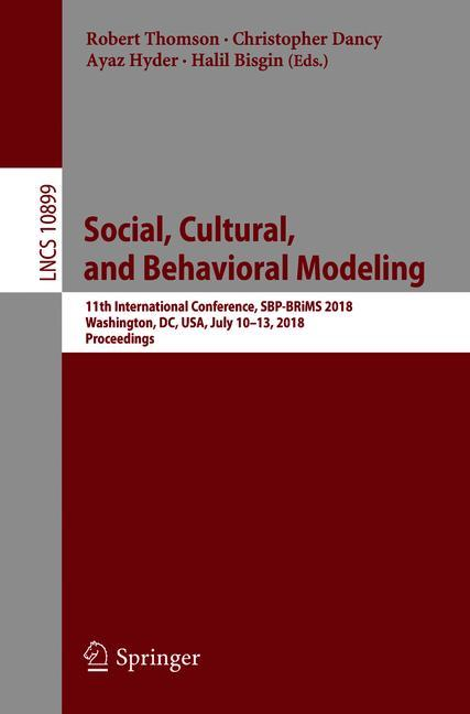 Cover of 'Social, Cultural, and Behavioral Modeling'