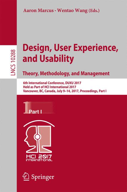 Cover of 'Design, User Experience, and Usability: Theory, Methodology, and Management'