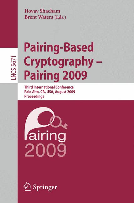Cover of 'Pairing-Based Cryptography – Pairing 2009'