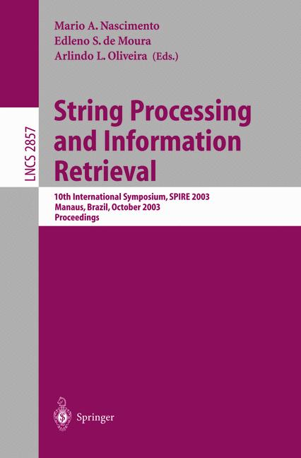 Cover of 'String Processing and Information Retrieval'