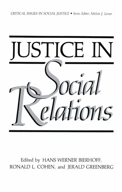 Cover of 'Justice in Social Relations'