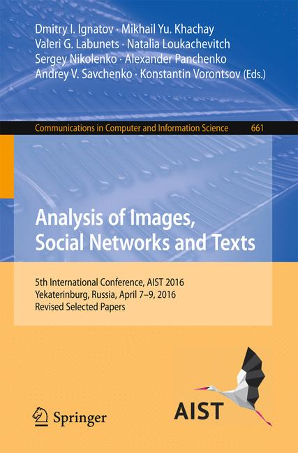 Cover of 'Analysis of Images, Social Networks and Texts'