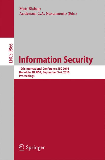 Cover of 'Information Security'