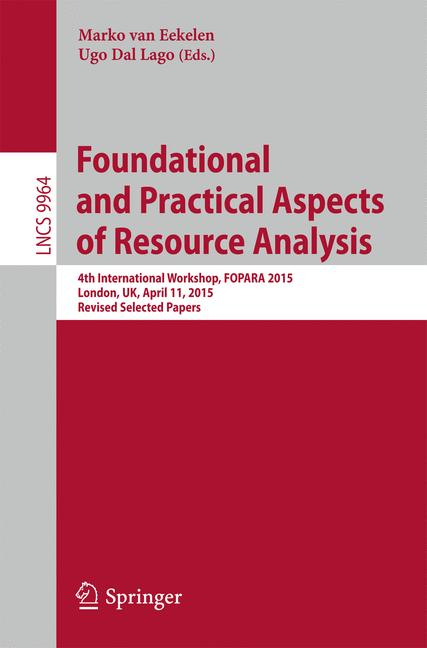 Cover of 'Foundational and Practical Aspects of Resource Analysis'