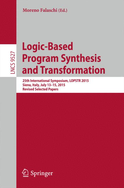 Cover of 'Logic-Based Program Synthesis and Transformation'