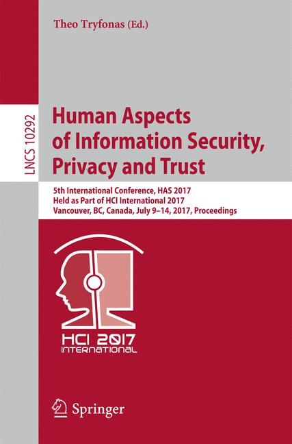 Cover of 'Human Aspects of Information Security, Privacy and Trust'