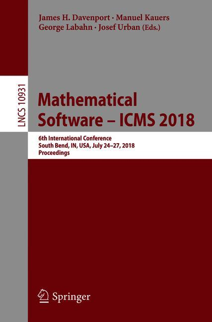 Cover of 'Mathematical Software – ICMS 2018'
