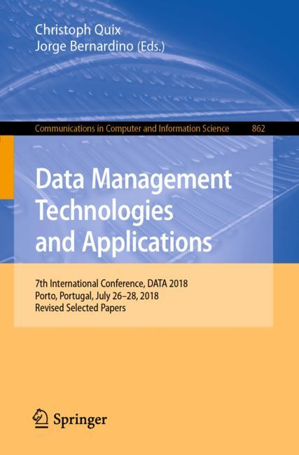 Cover of 'Data Management Technologies and Applications'