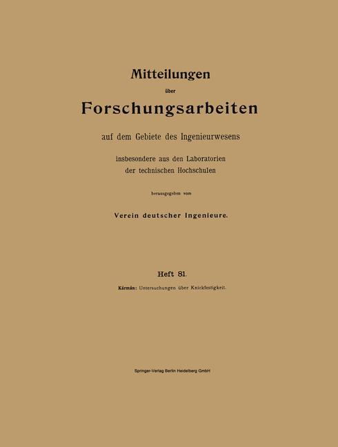 Cover of 'Mitteilungen über Forschungsarbeiten auf dem Gebiete des Ingenieurwesens insbesondere aus den Laboratorien der technischen Hochschulen'