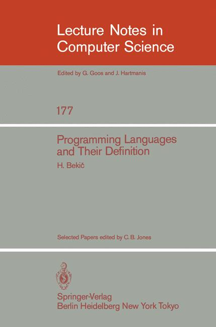 Cover of 'Programming Languages and Their Definition'
