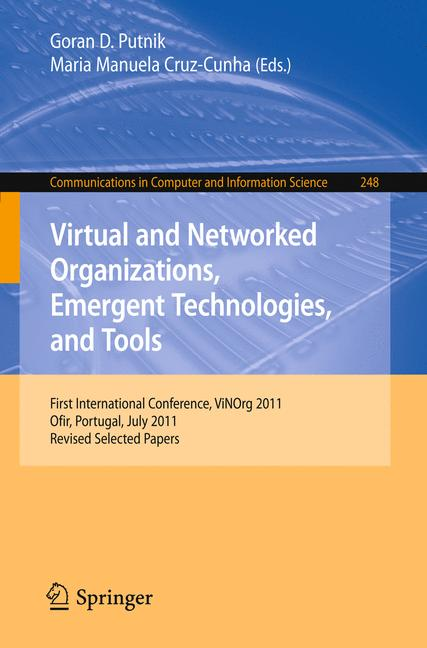 Cover of 'Virtual and Networked Organizations, Emergent Technologies and Tools'