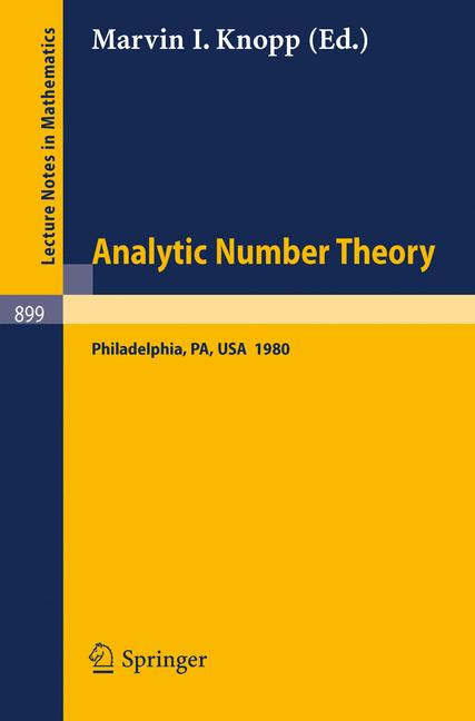 Cover of 'Analytic Number Theory'