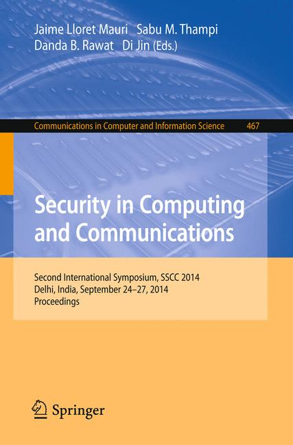 Cover of 'Security in Computing and Communications'