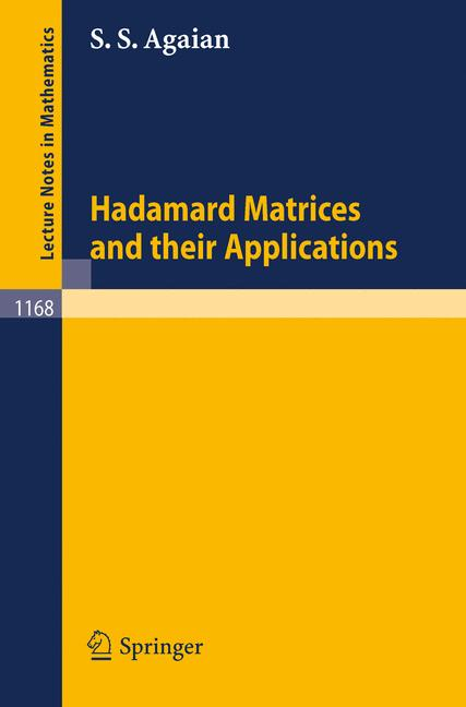 Cover of 'Hadamard matrices and their applications'