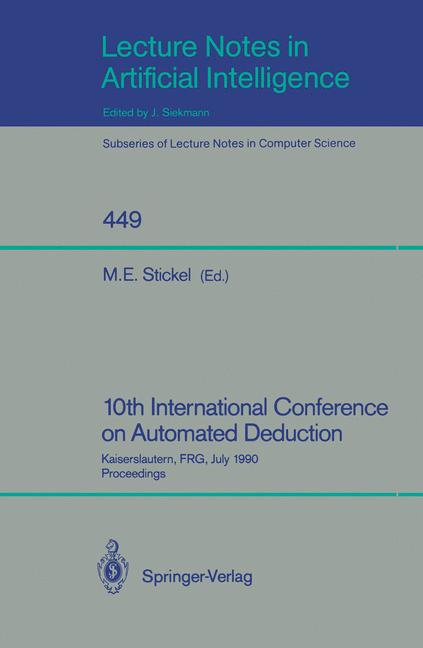 Cover of '10th International Conference on Automated Deduction'