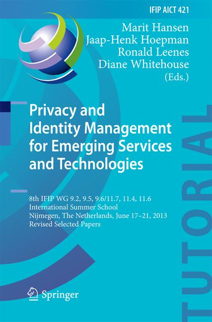 Cover of 'Privacy and Identity Management for Emerging Services and Technologies'