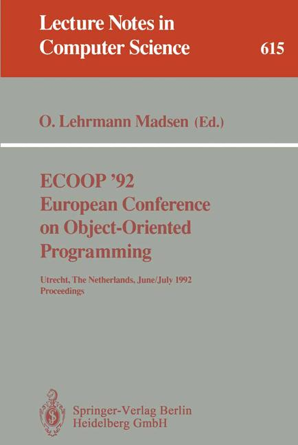 Cover of 'ECOOP '92 European Conference on Object-Oriented Programming'