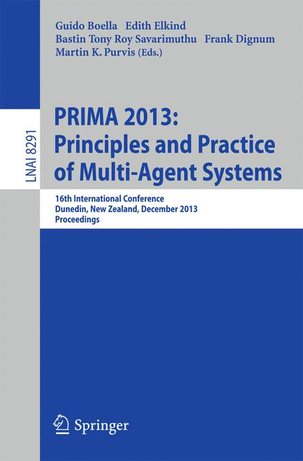 Cover of 'PRIMA 2013: Principles and Practice of Multi-Agent Systems'