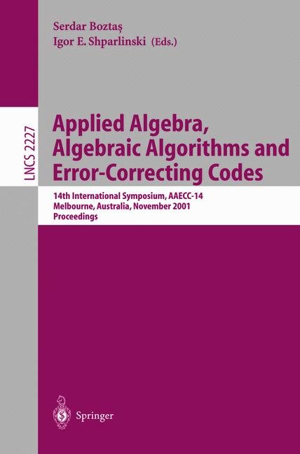Cover of 'Applied Algebra, Algebraic Algorithms and Error-Correcting Codes'