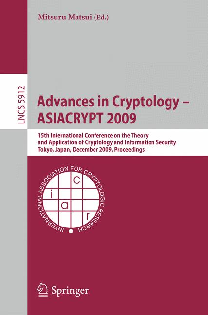 Cover of 'Advances in Cryptology - ASIACRYPT 2009'