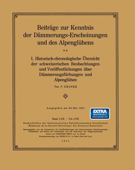 Cover of 'Beiträge zur Kenntnis der Dämmerungs-Erscheinungen und des Alpenglühens'