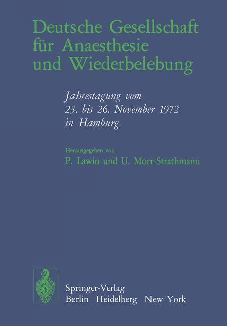 Cover of 'Deutsche Gesellschaft für Anaesthesie und Wiederbelebung'